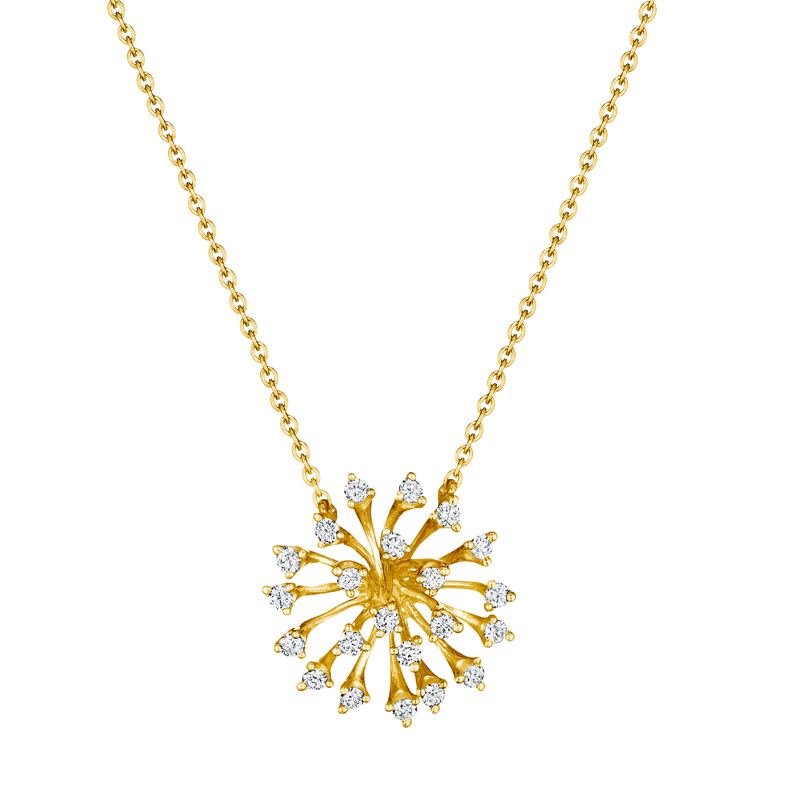 18 karat luminus yellow gold necklace with diamonds